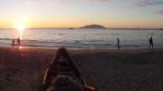 Seychellen, Mahé Nord, Beau Vallon Sonnenuntergang Panorama
